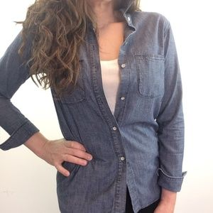 Madewell Denim Ex-Boyfriend Shirt XS dark D11